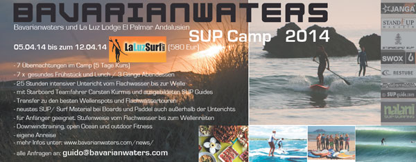 SUP Camp mit Bavarianwaters und La Luz Lodge El Palmar Andalusien