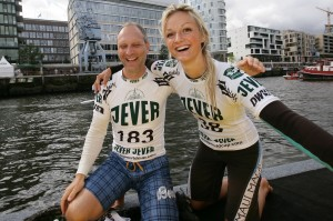 Olaf Schwarz und Lucie Reinhold am Jever SUP Worldcup